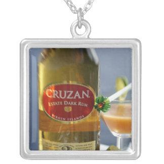 Caribbean, Virgin Islands. Cruzan Estate Dark Square Pendant Necklace