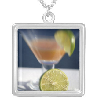 Caribbean, Virgin Islands. Tropical rum punch, Square Pendant Necklace