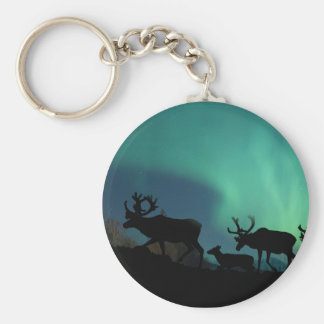 Caribou and Northern Lights Key Ring
