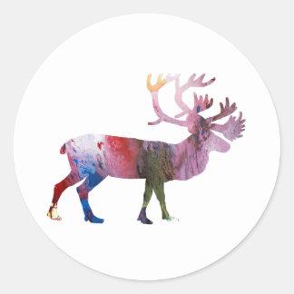 Caribou art classic round sticker