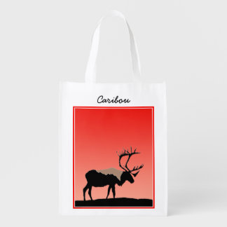 Caribou at Sunset Reusable Grocery Bag