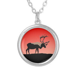 Caribou at Sunset Silver Plated Necklace