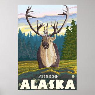 Caribou in the Wild - Latouche, Alaska Poster