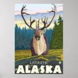 Caribou in the Wild - Latouche, Alaska Posters