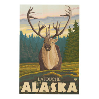 Caribou in the Wild - Latouche, Alaska Wood Prints