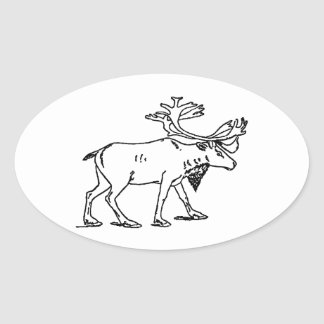 Caribou - Reindeer Logo (line art) Oval Sticker