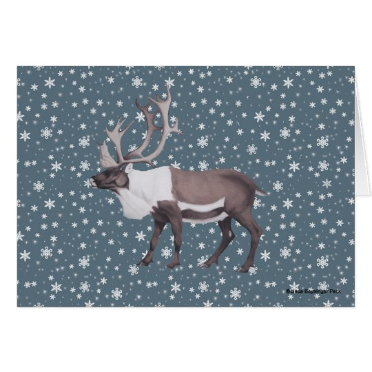 Caribou Reindeer Snowflakes on Blue Card