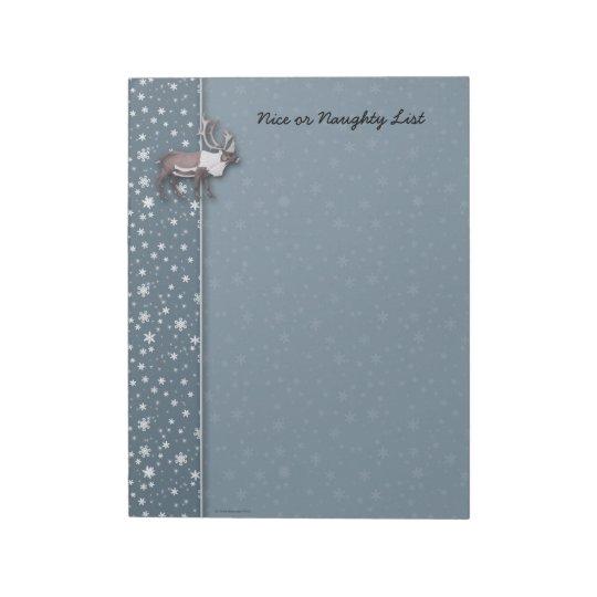 Caribou Reindeer Snowflakes on Blue Notepad