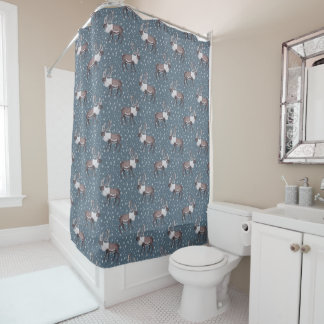 Caribou Reindeer Snowflakes on Blue Shower Curtain
