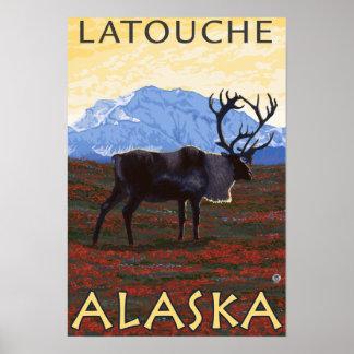 Caribou Scene - Latouche, Alaska Posters