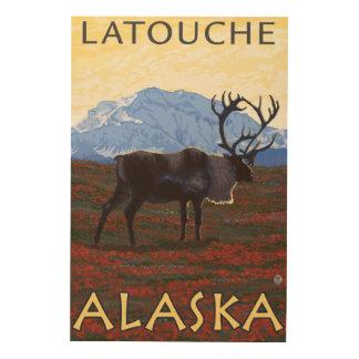 Caribou Scene - Latouche, Alaska Wood Print