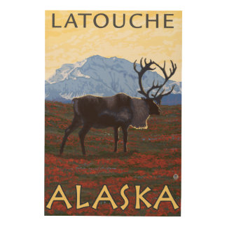 Caribou Scene - Latouche Alaska Wood Canvases
