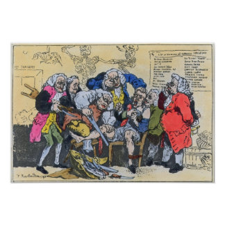 Caricature of Georgian Surgeons at work, 1793 Poster