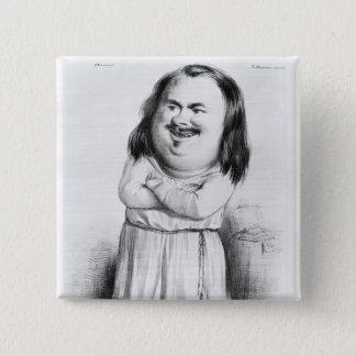 Caricature of Honore de Balzac 15 Cm Square Badge