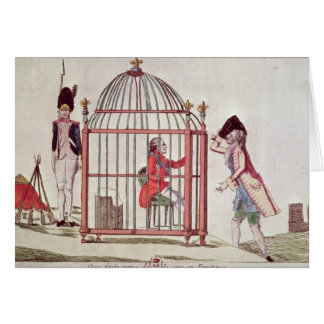 Caricature of Louis XVI in a cage Card