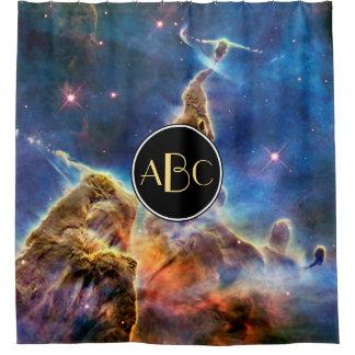 Carina Nebula Mystic Mountain with Custom Monogram Shower Curtain