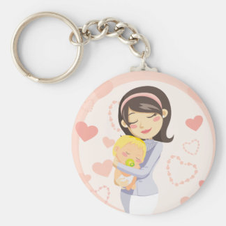 Caring Mother Basic Round Button Key Ring