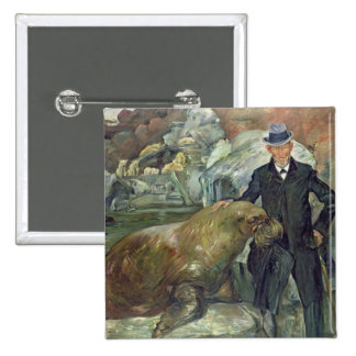Carl Hagenbeck  in His Zoo, 1911 15 Cm Square Badge