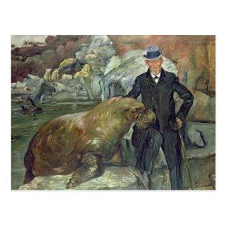 Carl Hagenbeck  in His Zoo, 1911 Postcard
