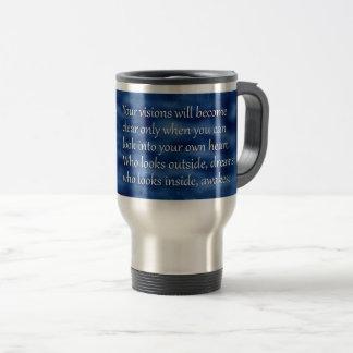 Carl Jung Who Looks Inside Awakes Quote Travel Mug