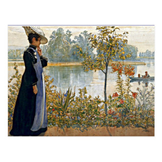 Carl Larsson art: Karin on the Shore Postcard