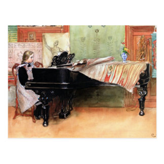 Carl Larsson art: Playing Scales Postcard
