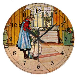 Carl Larsson art: The Kitchen Large Clock