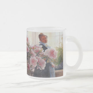 Carl Larsson Azalea Floral Vintage Fine Art Frosted Glass Coffee Mug