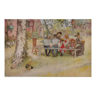 Carl Larsson Breakfast Under The Big Birch Poster