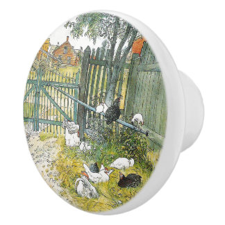 Carl Larsson Chickens Rabbit Barnyard Animals Knob