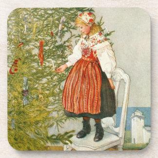 Carl Larsson Christmas Tree Confetti Vintage Coaster
