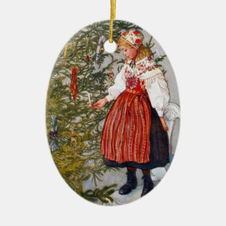 Carl Larsson Christmas Tree Custom Ornament Oval