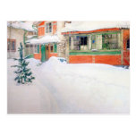 Carl Larsson Cottage in Snow Holiday Christmas Post Cards