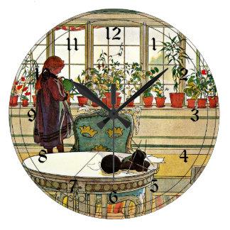 Carl Larsson - Flowers on the Windowsill Large Clock