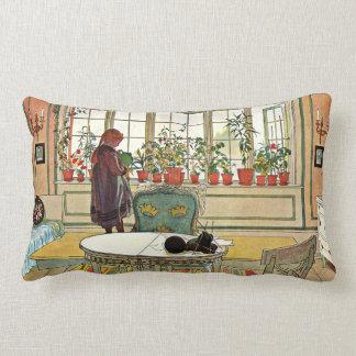 Carl Larsson - Flowers on the Windowsill Lumbar Cushion