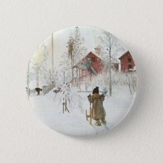 Carl Larsson  Front Yard and the Wash House 6 Cm Round Badge