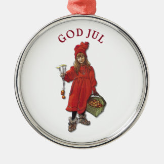 Carl Larsson God Jul with Brita - Merry Christmas Silver-Colored Round Decoration