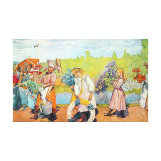 Carl Larsson Outside Summer Winds Are Blowing Stretched Canvas Print