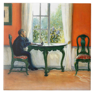Carl Larsson - Required Reading Large Square Tile
