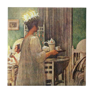 Carl Larsson St. Lucia Day Christmas in Sweden Small Square Tile