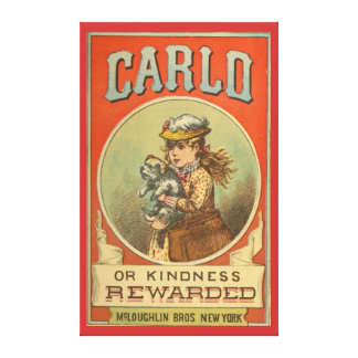 Carlo or Kindness Rewarded Vintage Book cover  Wra Canvas Print