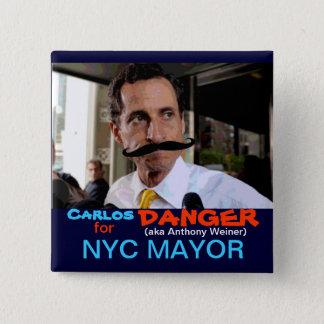 Carlos (aka Anthony Weiner) Danger 15 Cm Square Badge