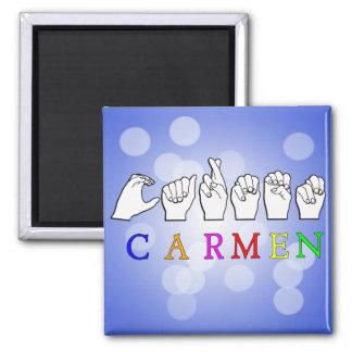 CARMEN FINGERSPELLED ASL NAME SIGN MAGNET