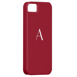 Carmine Red Monogram iPhone 5 Case