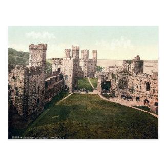 Carnarvon castle interior, vintage Wales postcard. Post Card