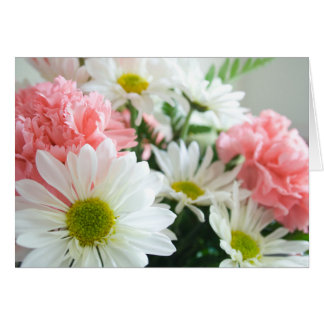 Carnation and Daisy Bouquet Card