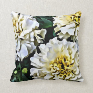 Carnation Flowers, White & Yellow Throw Pillow