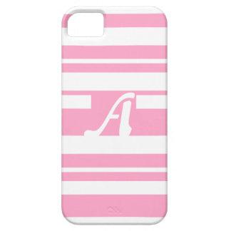 Carnation Pink and White Random Stripes Monogram iPhone 5 Case