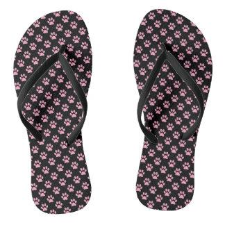 Carnation Pink Animal Paw Prints on Black Thongs