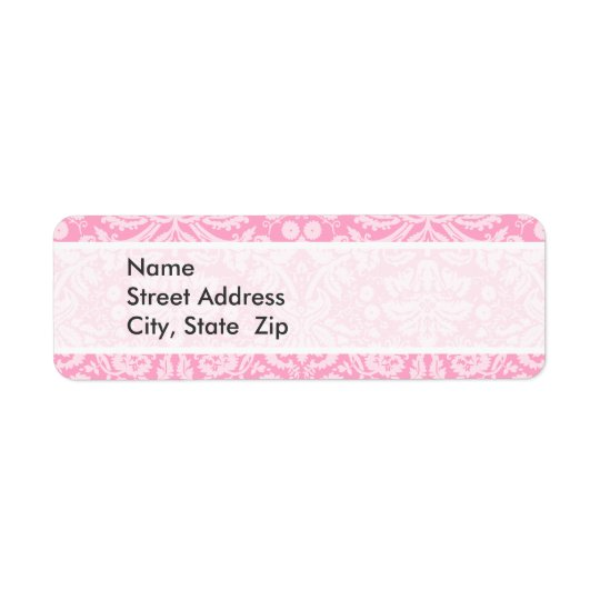 Carnation Pink Damask Pattern Return Address Label